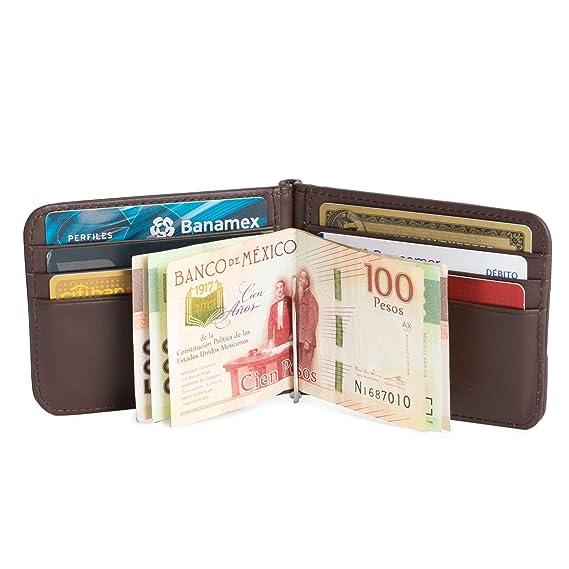 Billetera de Piel Lisa con Money Clip para Hombre/Cartera de Piel para  Caballero. Billetera de Piel Slim Unisex. Delgada y Elegante. Disponible en  ...