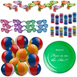 Bulk Pool Party and Beach Party Favors Toys For Kids Pack of 49 Summer Fun Set Includes 12 Rainbow Inflatable Beach Balls, 12 Bubbles, 12 Water Squirt Guns, 12 Shutter Shade Sunglasses and 1 Frisbee