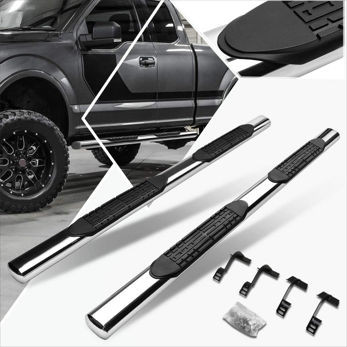 5 Black Curved Side Step Nerf Bar Running Board Replacement for Ford F-150 F-250 F-350 Extended Cab 15-20