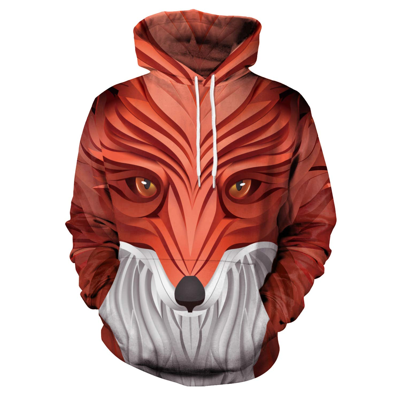 Mrsrui Casual Long Sleeve Hoodie Pullover Sweatshirt - 3D Graphic Printed Red by Mrsrui