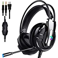 Proxima Direct Gaming Headset Headphone For Laptop Computer, PS4,Cellphone, 3.5mm Stereo Wired Over Ear Gaming Headset Comatible with PC/Laptop/Xbox 360/Xbox One with Microphone&LED Light
