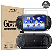(4-Pack) Screen Protectors for Sony Playstation Vita 1000 with Back Covers, Akwox 9H Tempered Glass Front Screen…