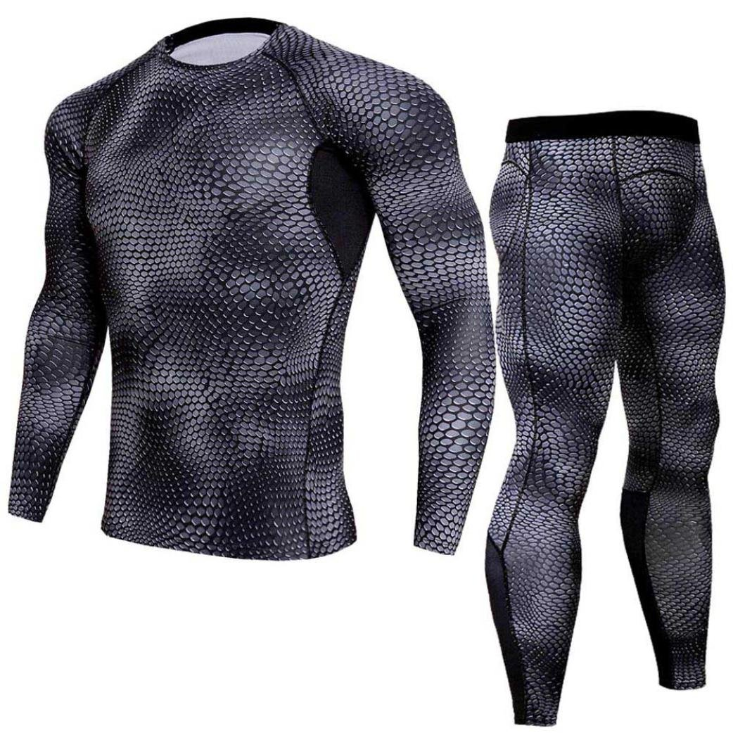 Men Compression Workout Fitness Sportswear Sets Gym Running Yoga Athletic Shirt Top Pants Athletic Sets (Dark Gray, S-Bust:32.2-37.0-Hips:34.6'')