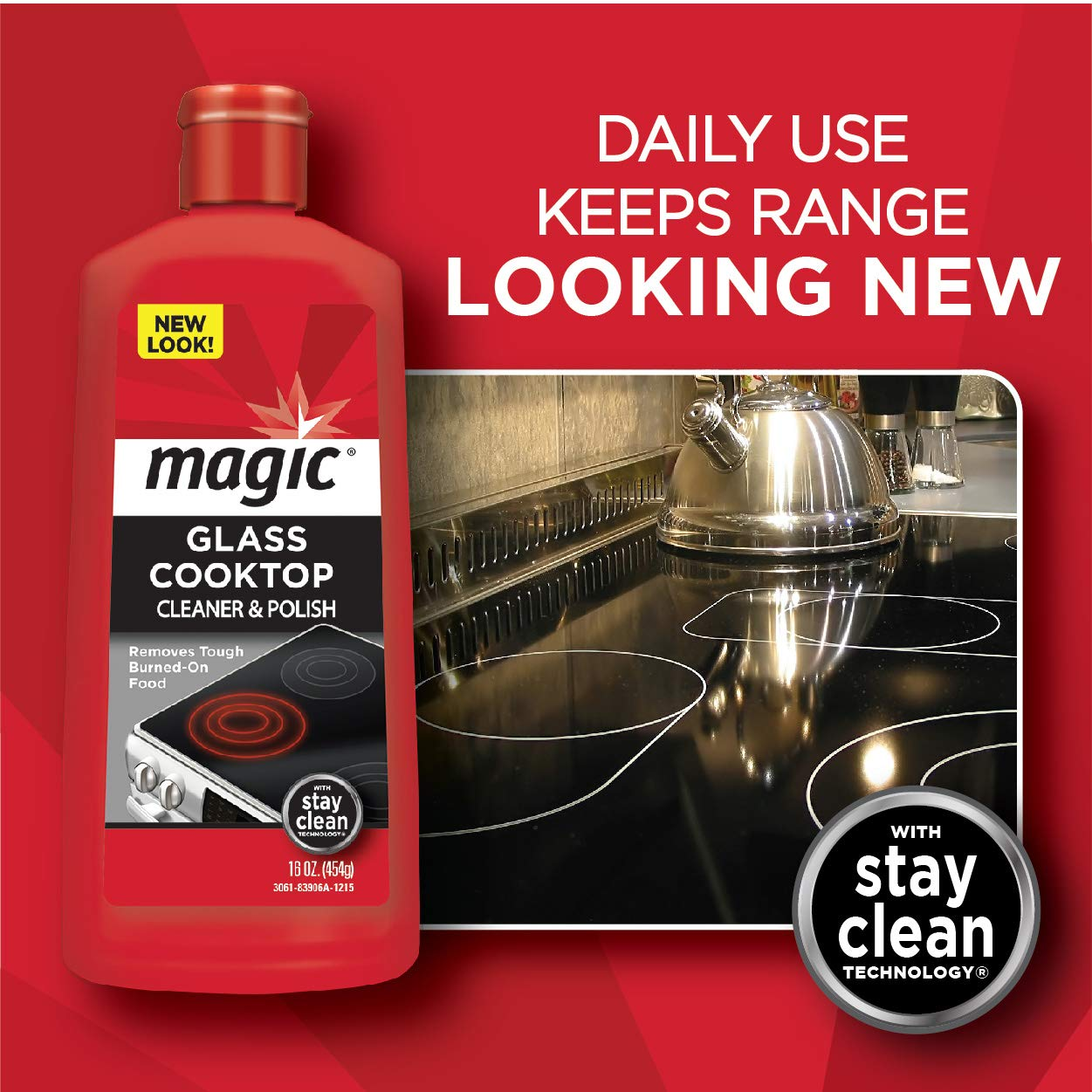 MAGIC Glass Cooktop Cream Cleaner & Polish - 16 oz. and Daily Cleaner - 14 Ounce - Cleans and Protects Glass and Ceramic Smooth Top Ranges with its Gentle Formula by MAGIC (Image #2)