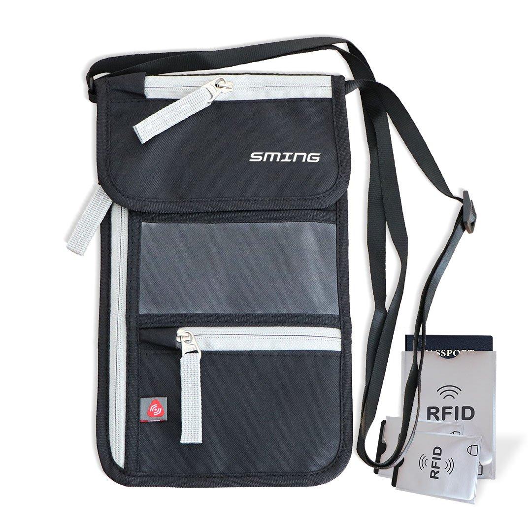 SMING Porte-passeport Voyage Pochette tour de cou avec RFID Blocking- Compact Neck Wallet
