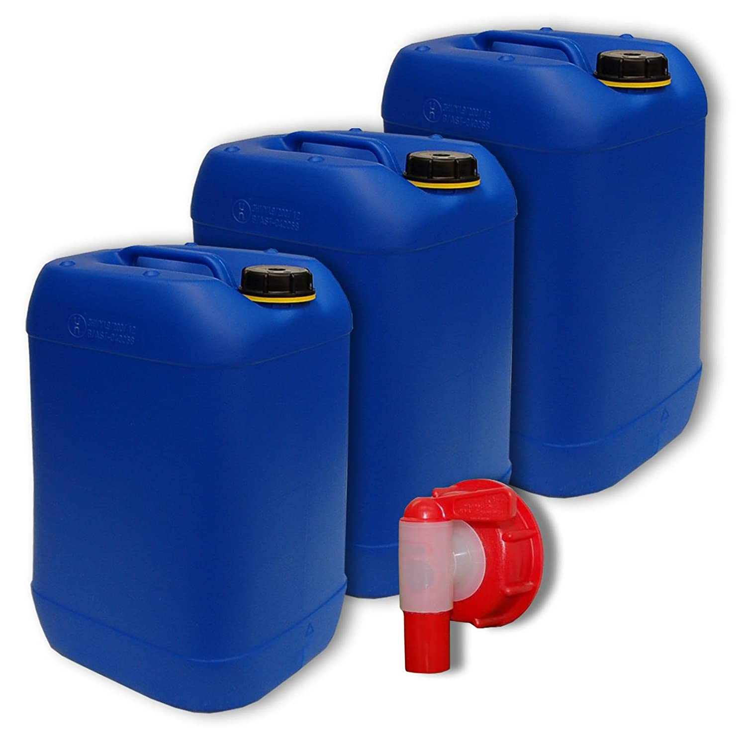 water container 1 tap Lot of 3 plastic jerricans 30 L 22001x3+22010 DIN 61 natural