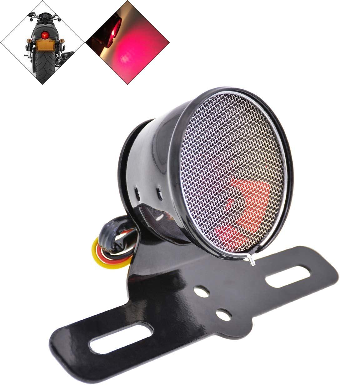 Natgic Universelles Motorrad Rücklicht Round 12v Motorrad Bremslicht Hinten Bremslicht Für Alle Arten Von Modifizierten Retro Motorrädern Und Fahrrädern Schwarze Schale Und Rotes Objektiv Auto