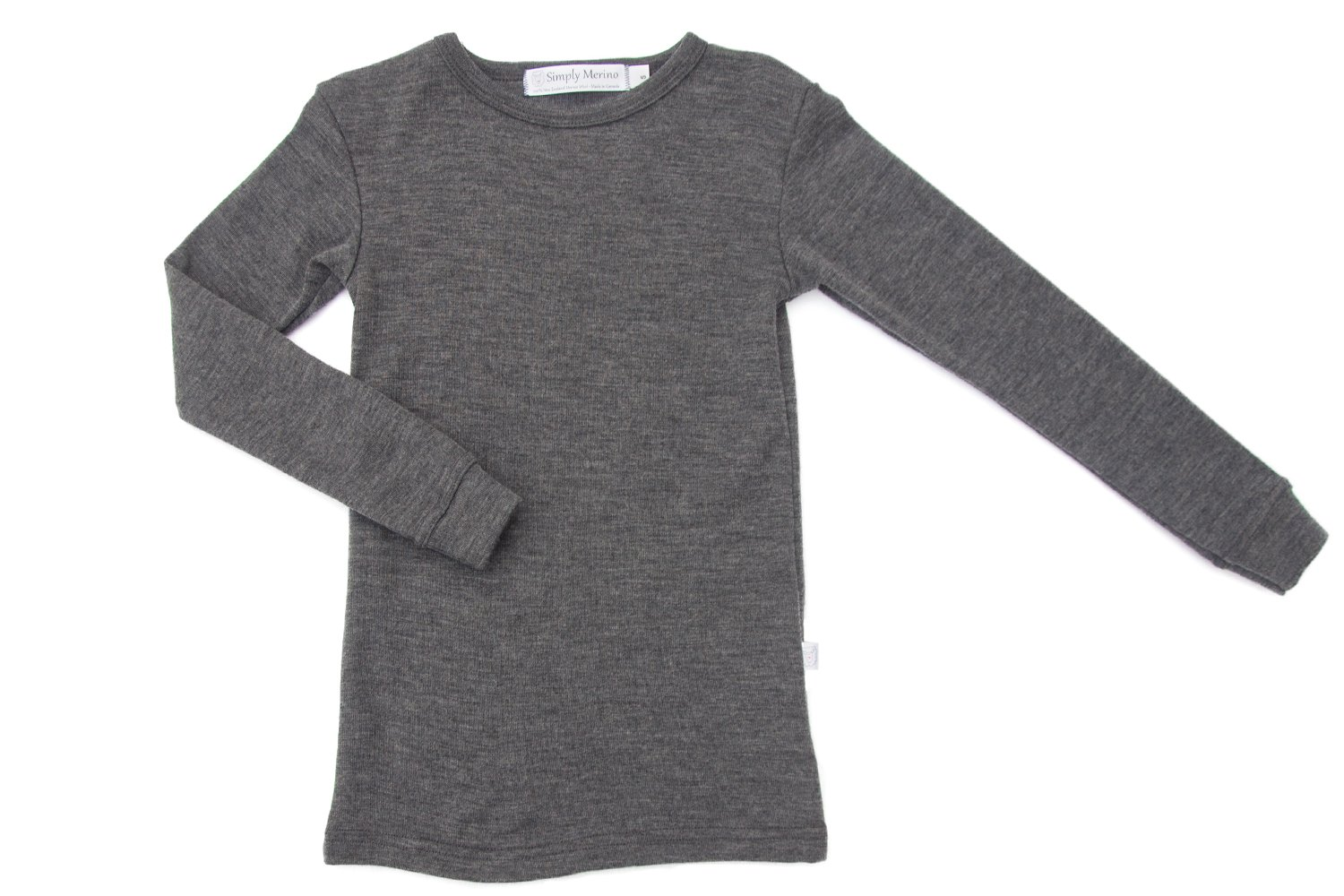 Pure Merino Wool Kids Thermal Top. Base layer Underwear PJ's. CHARCOAL Size 3T