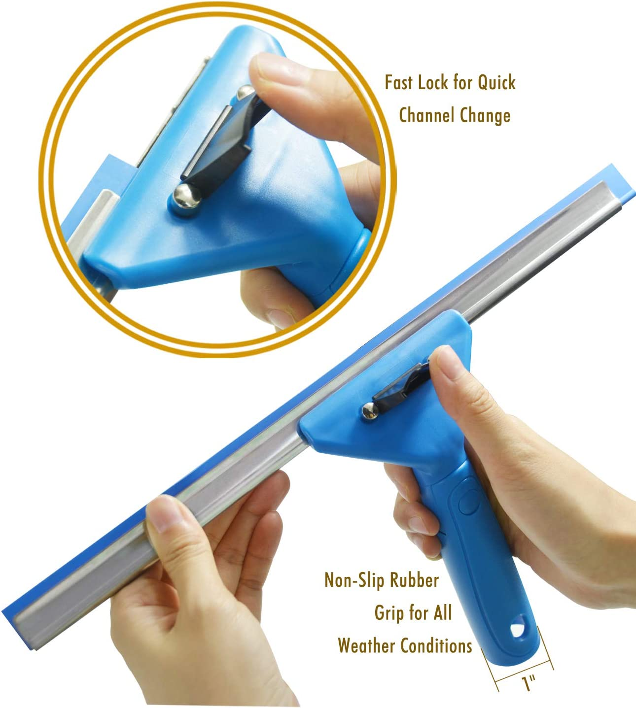 ITTAHO All Purpose Squeegee,Shower Squeegee with Handle and Rubber Replacement,Squeegee Shower Cleaner for Bathroom Shower Glass Door Car Window Cleaning Squeegee 10 Inch