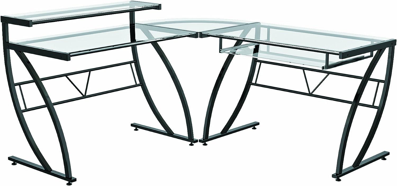 Amazon Com Z Line Belaire Glass L Shaped Computer Desk Furniture Decor