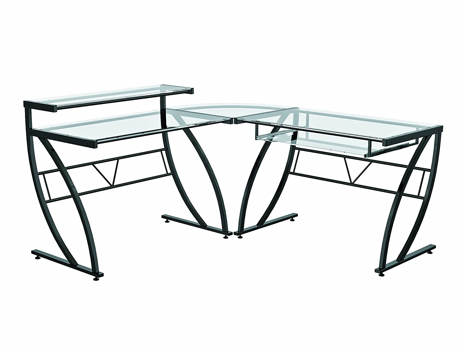 Amazon.com: Z Line Belaire Glass L Shaped Computer Desk: Kitchen U0026 Dining