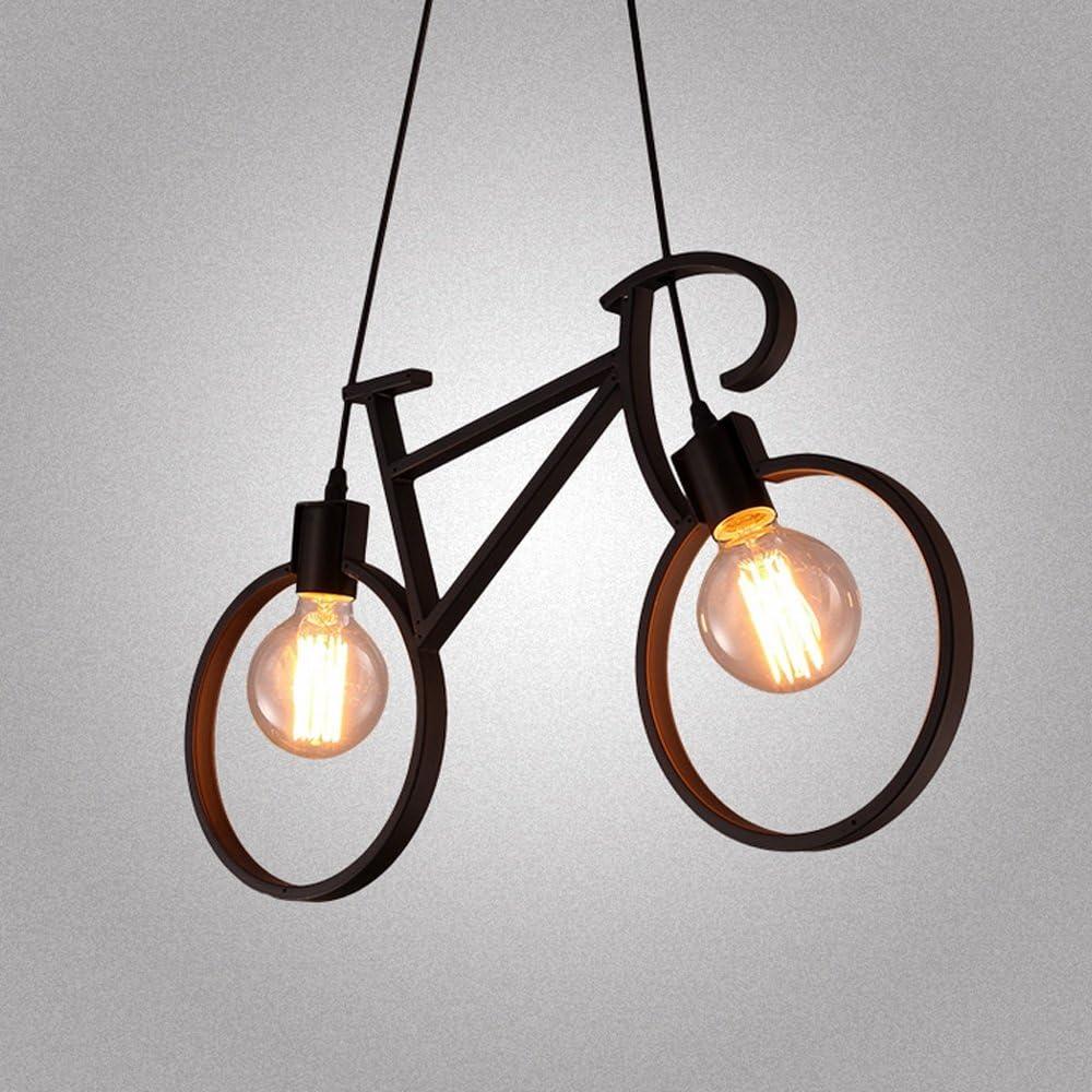 JYKJ E27 Moderne Kronleuchter Fahrrad Form Deckenleuchter Einfache Eisen Fahrrad Deckenleuchte Kronleuchter Wohnzimmer Schlafzimmer Esszimmer Deckenleuchte Color : Schwarz