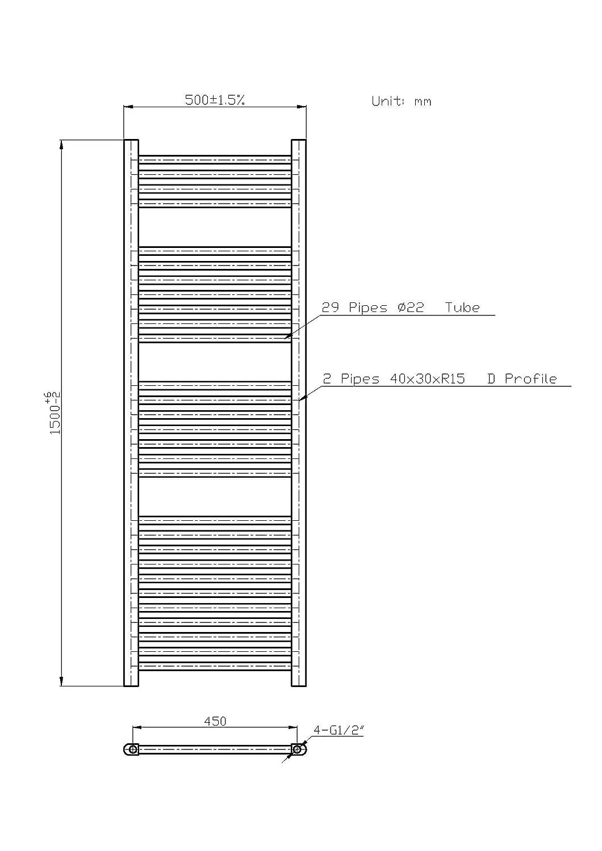 Radiatore termoarredo scaldasalviette cromato 150x50 interasse 45