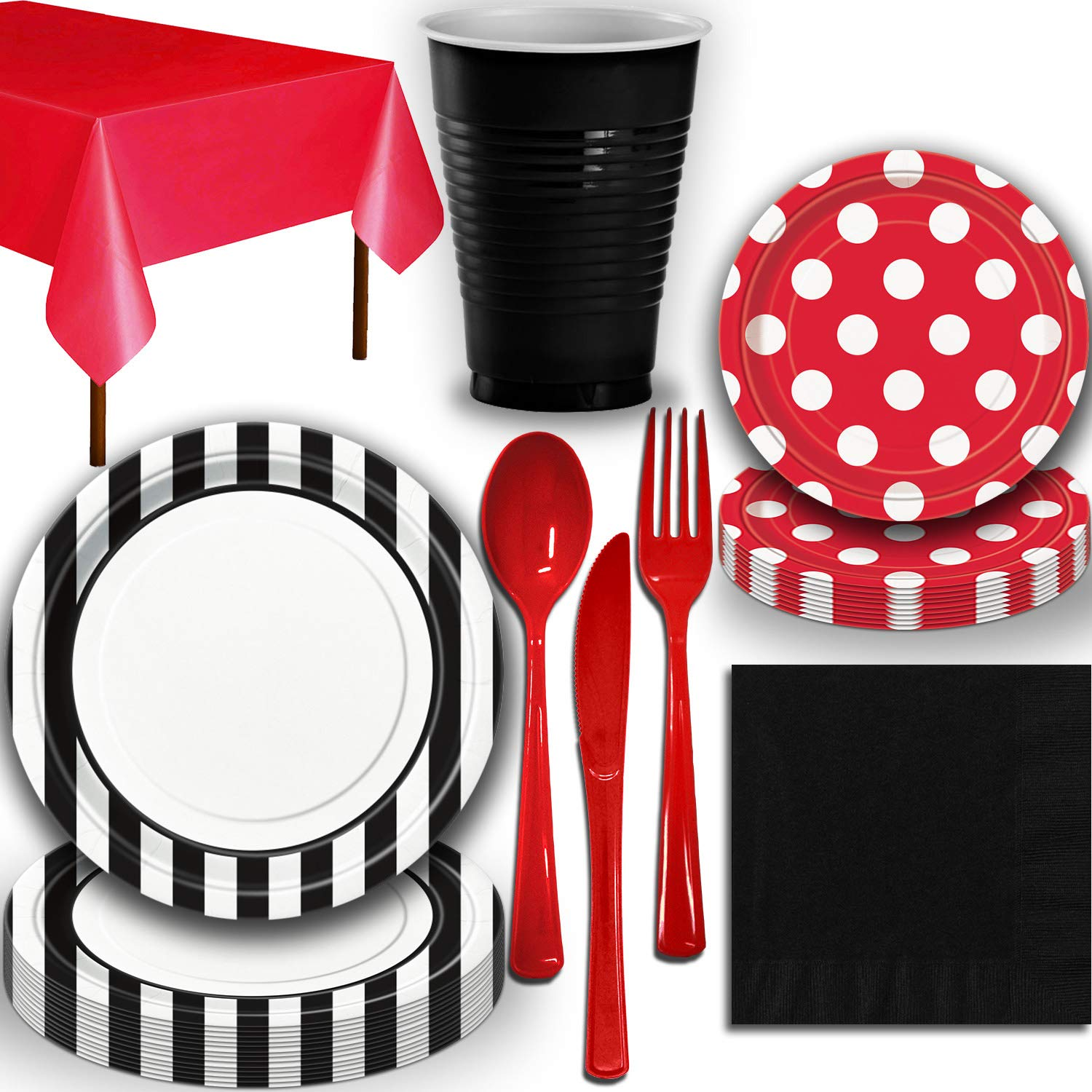 Disposable Tableware, 40 Sets - Midnight Black and Ruby Red - Striped Dinner Plates, Dotted Dessert Plates, Cups, Lunch Napkins, Cutlery, and Tablecloths: Premium Quality Party Supplies Set by HeroFiber (Image #2)