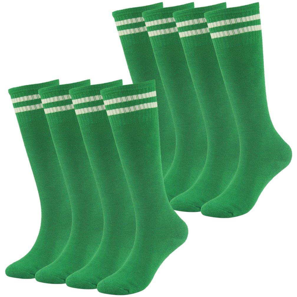 Soccer Socks Boys Socks Fasoar Over Knee Striped Half Cushion Athletic Socks 8 Pairs Green by Fasoar