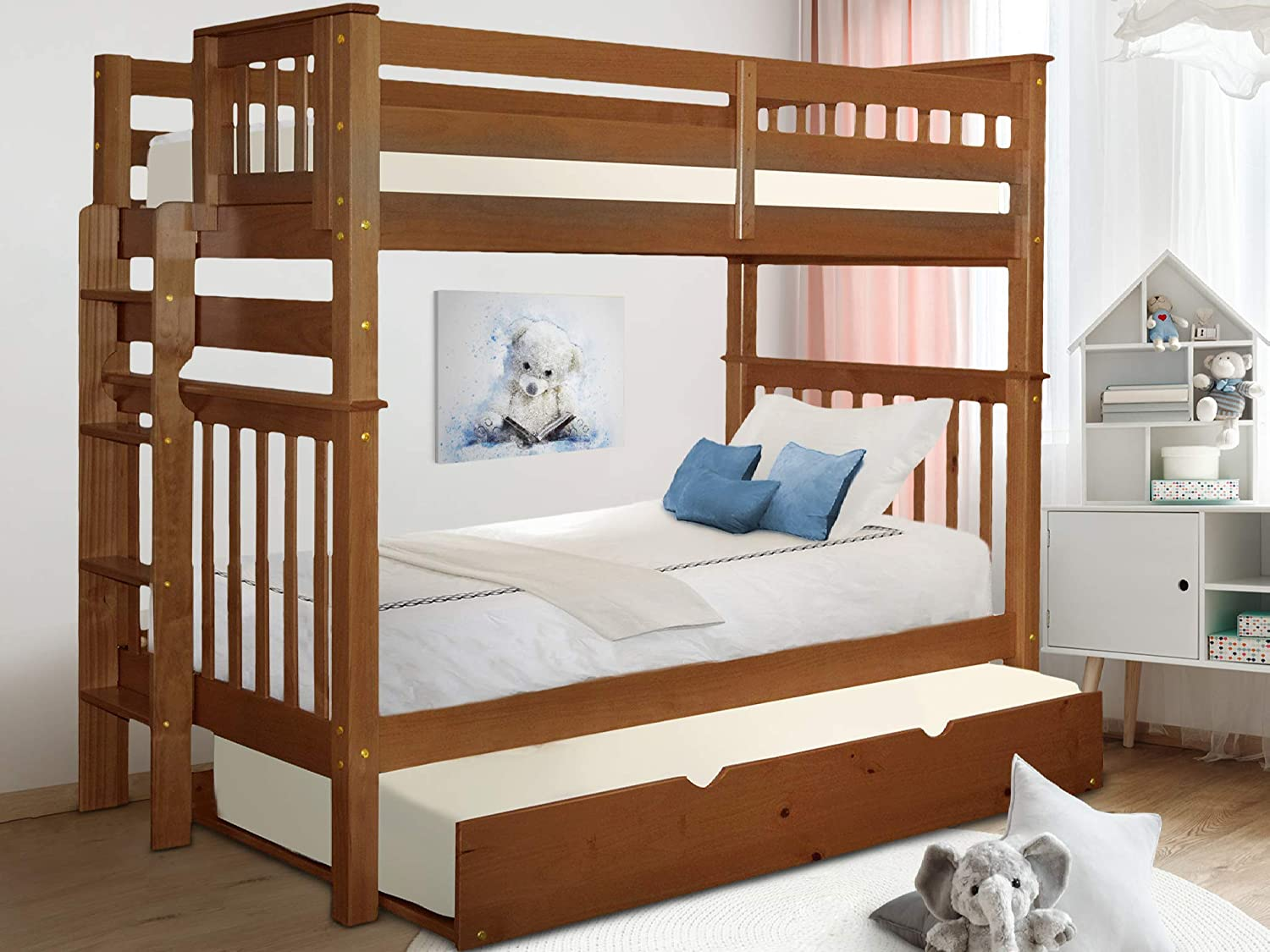 Bedz King Tall Bunk Beds Twin over Twin Mission Style with End Ladder and a Twin Trundle, Espresso