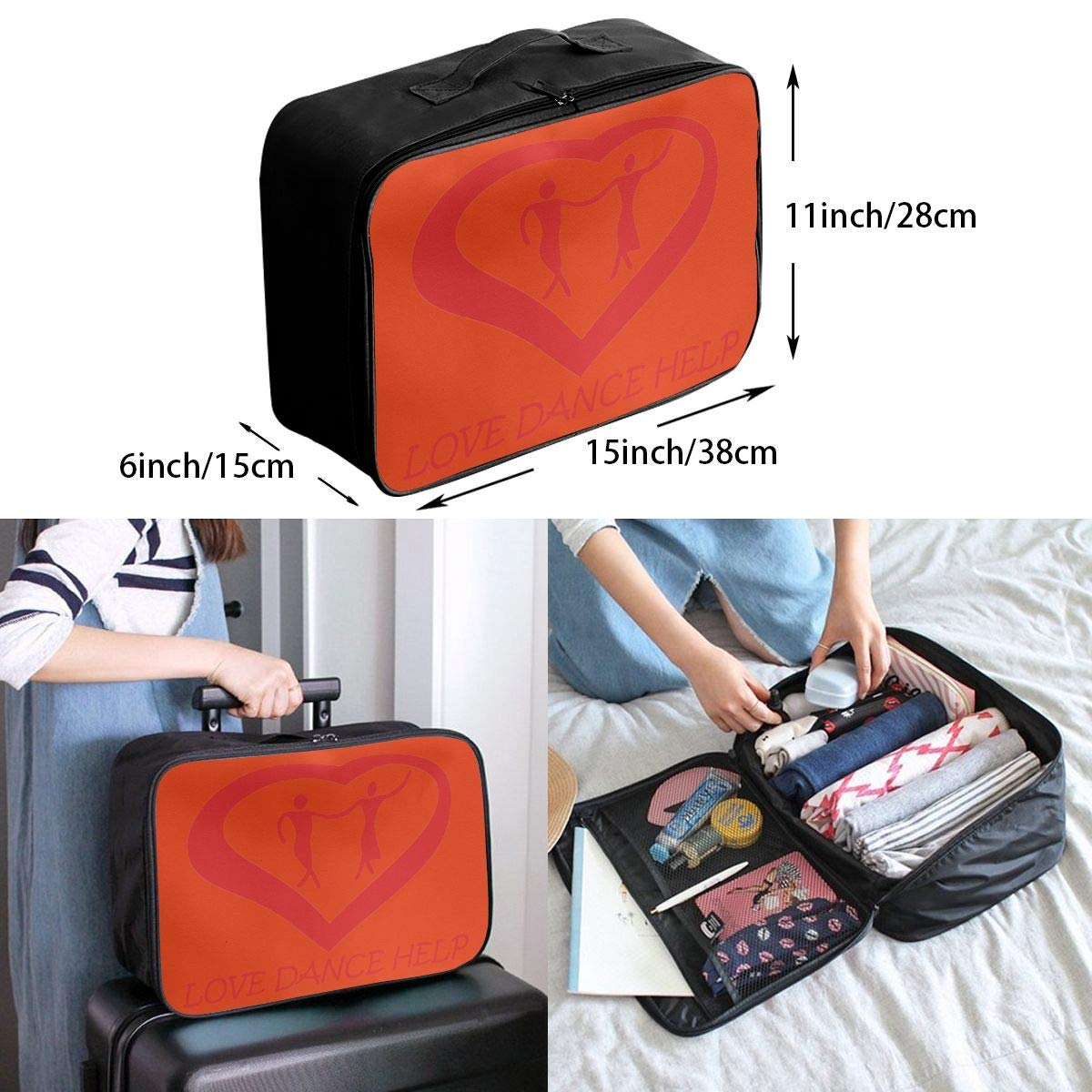 Travel Luggage Duffle Bag Lightweight Portable Handbag Love Dance Help Large Capacity Waterproof Foldable Storage Tote