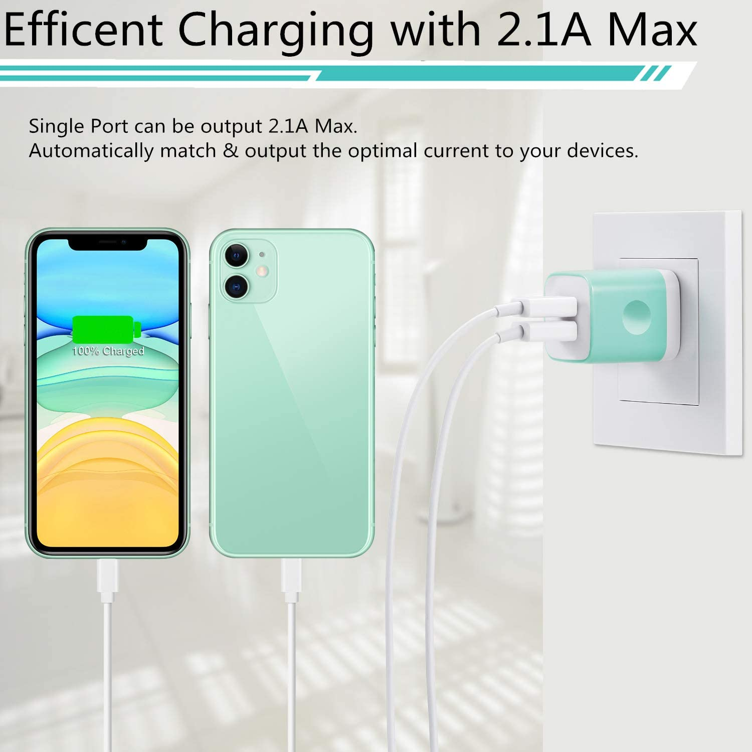 iPad Samsung Android Cell Phone LUOSIKE USB Wall Charger, 2.1A//5V Dual Port USB Plug Charger Cube Charging Block Power Adapter Compatible with iPhone 11//Xs//XR//X//8//7//6//6S Plus//SE//5S LG 3-Pack