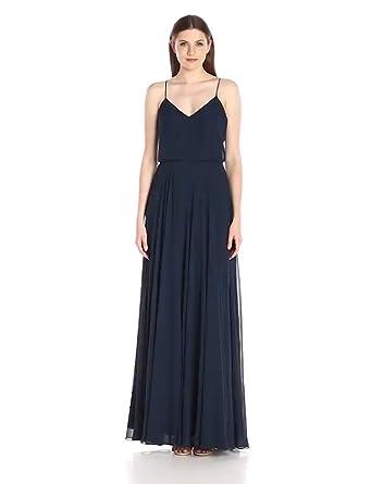 cb2d73e14644 Jenny Yoo Women's Inesse thin strap V Neck long chiffon Gown, Navy, ...