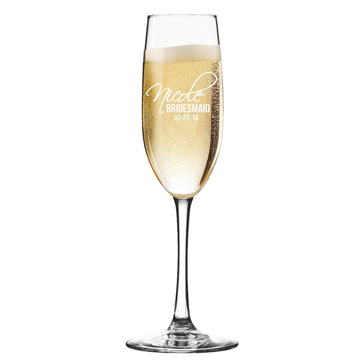 Set of 3, 6, 8, and More Custom Etched Bride, Bridesmaid, Champagne Flutes - Personalized Wedding Party Glass Gifts - Feather Tip Style (1) My Personal Memories MPM0399