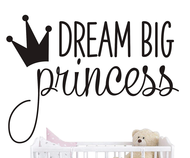 Gold JOYRESIDE Dream Big Princess Crown Wall Decal Vinyl Sticker Kids Baby Girls Bedroom Decoration Nursery Home Decor Mural Design YMX18