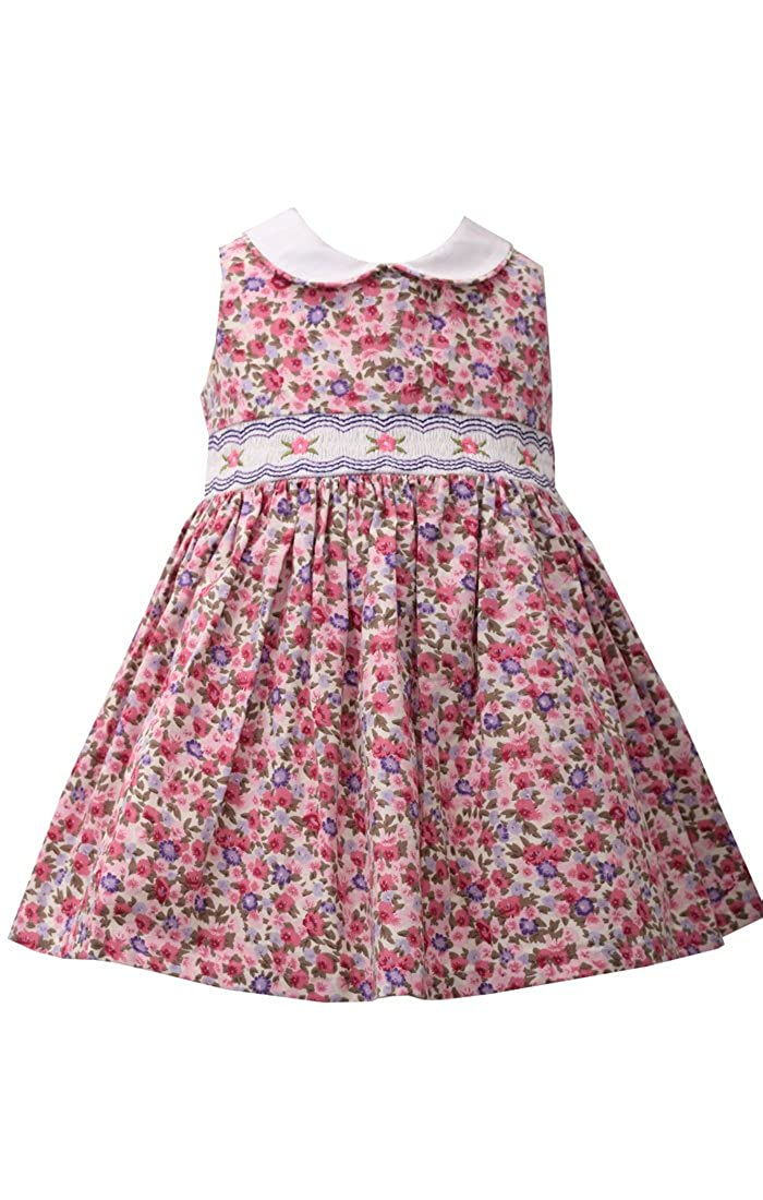 771e4aca3 Amazon.com: Bonnie Baby Girls Pink Ditsy Floral Smocked Dress (0m-24m):  Clothing