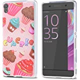 J&D Case Compatible for Xperia XA Case, [Drop Protection] [Slim Cushion] Shock Resistant Protective TPU Slim Case for Sony Xperia XA Bumper Case - Cupcake