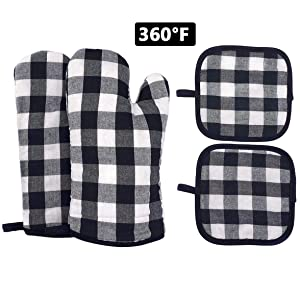 Oven Mitts and Pot Holders, Heat Resistant BBQ Long Gloves with Non-Slip Surface for Safe Kitchen Cooking Baking Grilling (Black)