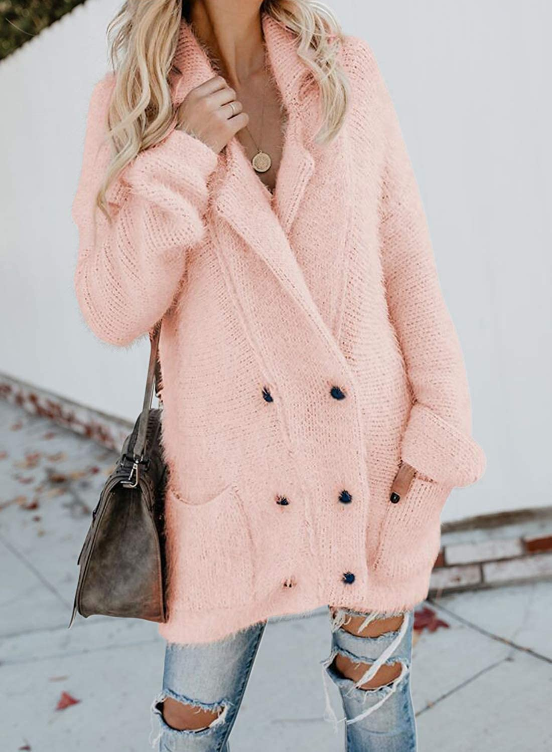 Asvivid Womens Winter Chunky Fuzzy Fleece Lapel Button Down Sweater Cardigans Outwear Coats with Pockets