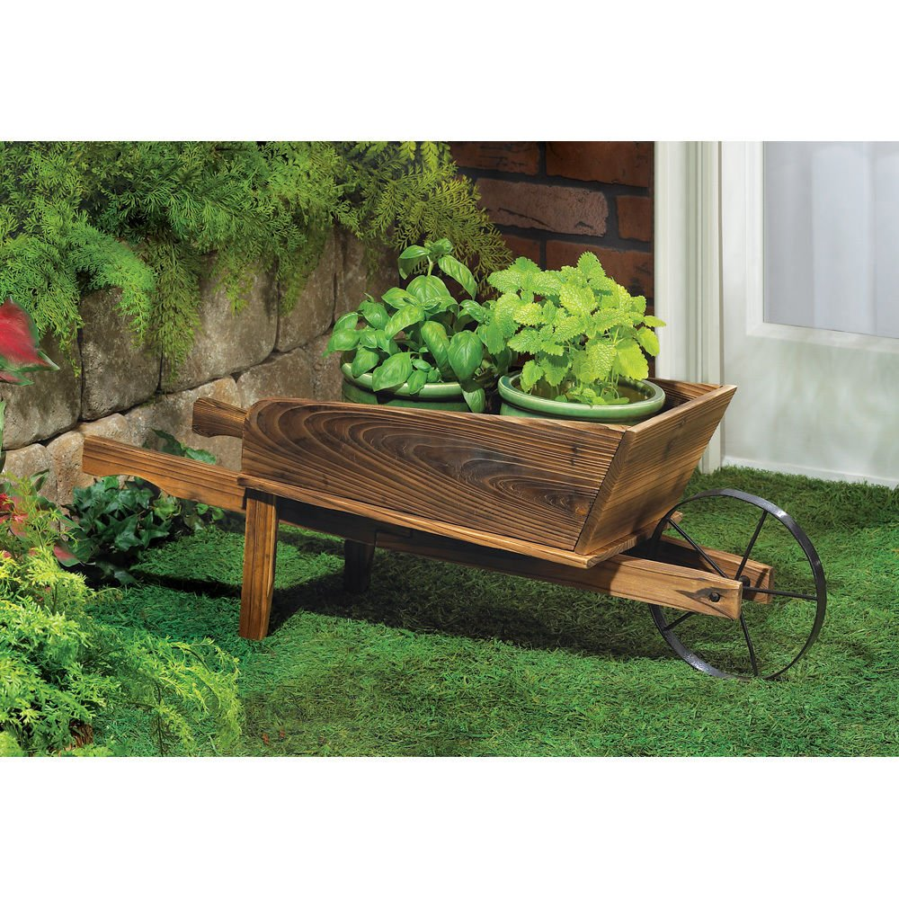 Amazon.com : NEW Wooden Wheelbarrow Country Cart Plant Stand Yard ...