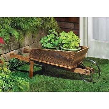 Amazon Com New Wooden Wheelbarrow Country Cart Plant Stand Yard