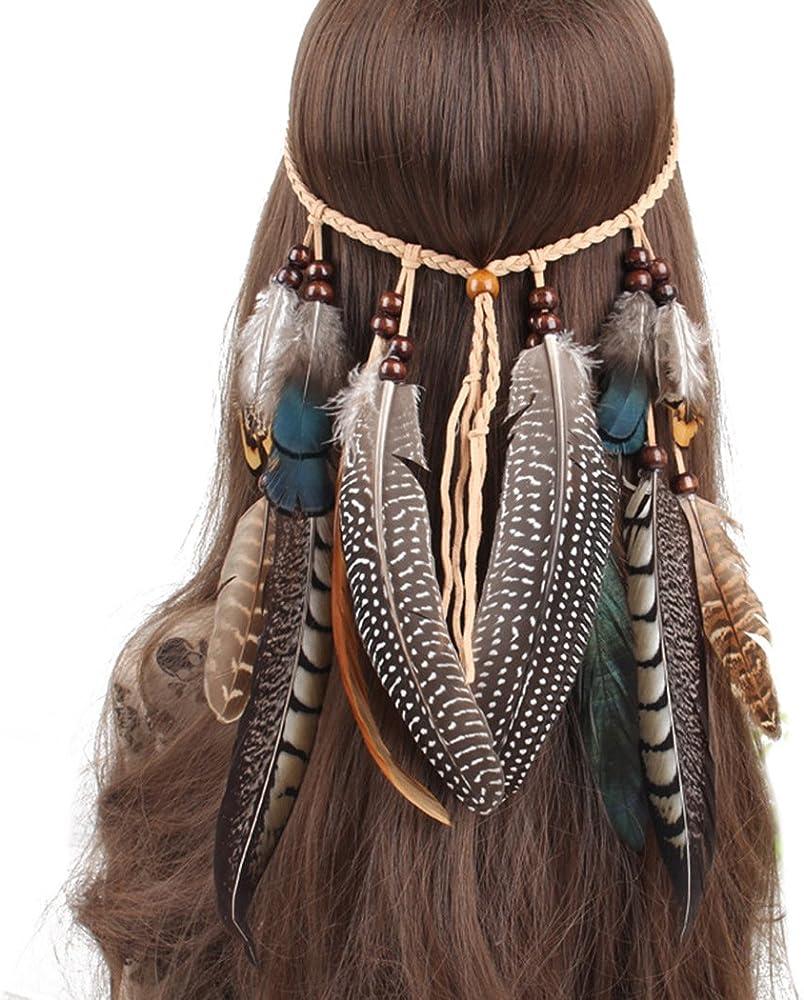 Comfysail Indio Diadema Boho Hippie Borlas De Plumas Headwear ...