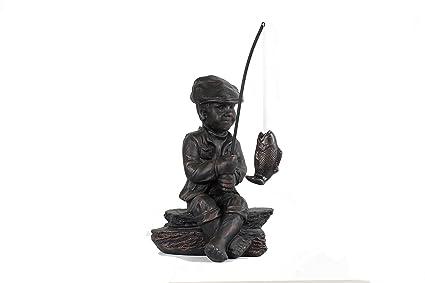 BW Decor Little Boy 24.72u0026quot; Fisherman Garden Sculptures, Garden Statue,  Polystone, Polyresin