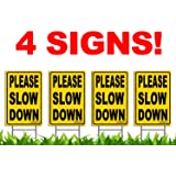 "Bundle of (4) PLEASE SLOW DOWN 12"" x 18"" Yellow Safety Sign + Metal Ground Stakes"
