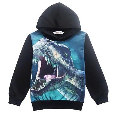 71da2b83a Amazon.com  CM-Kid Little Boys Dinosaur Hooded Jacket Cartoon Long ...