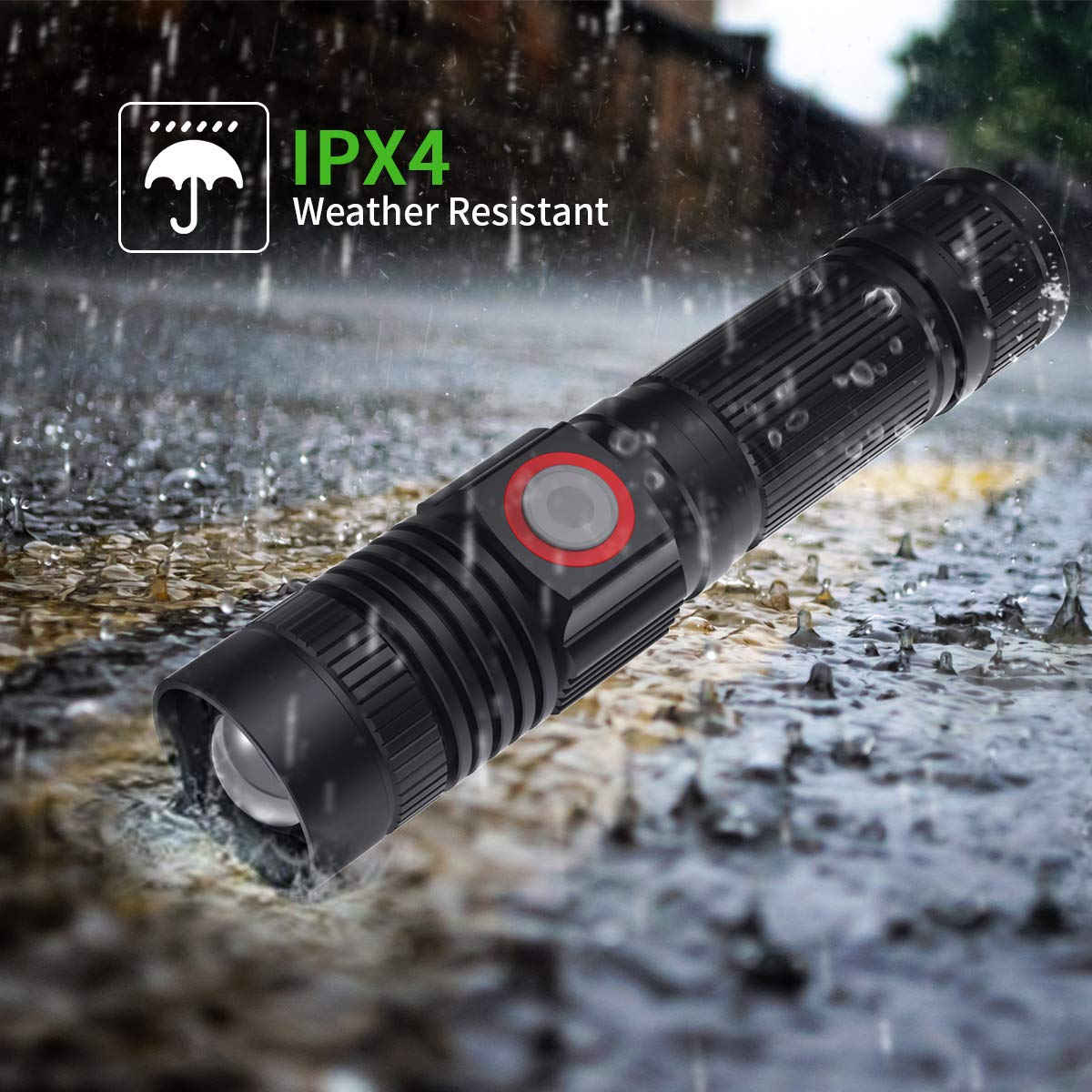 1000LM Rechargeable Flashlight, Pocket Size LED Flashlight Ultra Bright with 5 Light Modes, Zoomable Light, Water Resistant, Portable Handheld Flashlight for Home, Camping, Outdoor, Emergency
