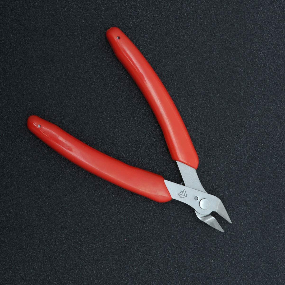 rojo DOITOOL Cortador de microcables de acero al carbono de 1 pieza alicates de corte lateral de precisi/ón para corte de alambre electr/ónico con un mango suave de resorte de apertura