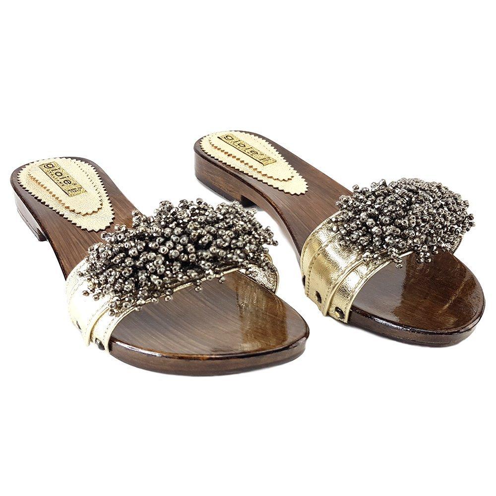 kiara shoes Zueco De Baja Doradas-12536 Oro