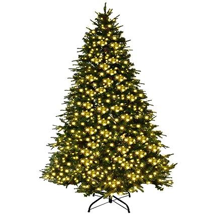 Amazon.com: Goplus 7Ft Pre-Lit Artificial Christmas Tree Premium ...