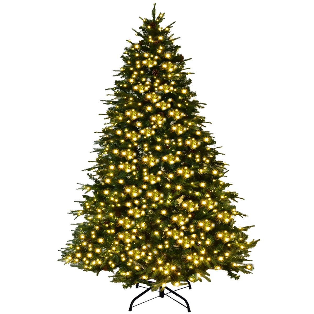 Goplus 7Ft Pre-Lit Artificial Christmas Tree Premium Spruce Hinged Tree w/ 460 LED Lights & Pine Cones