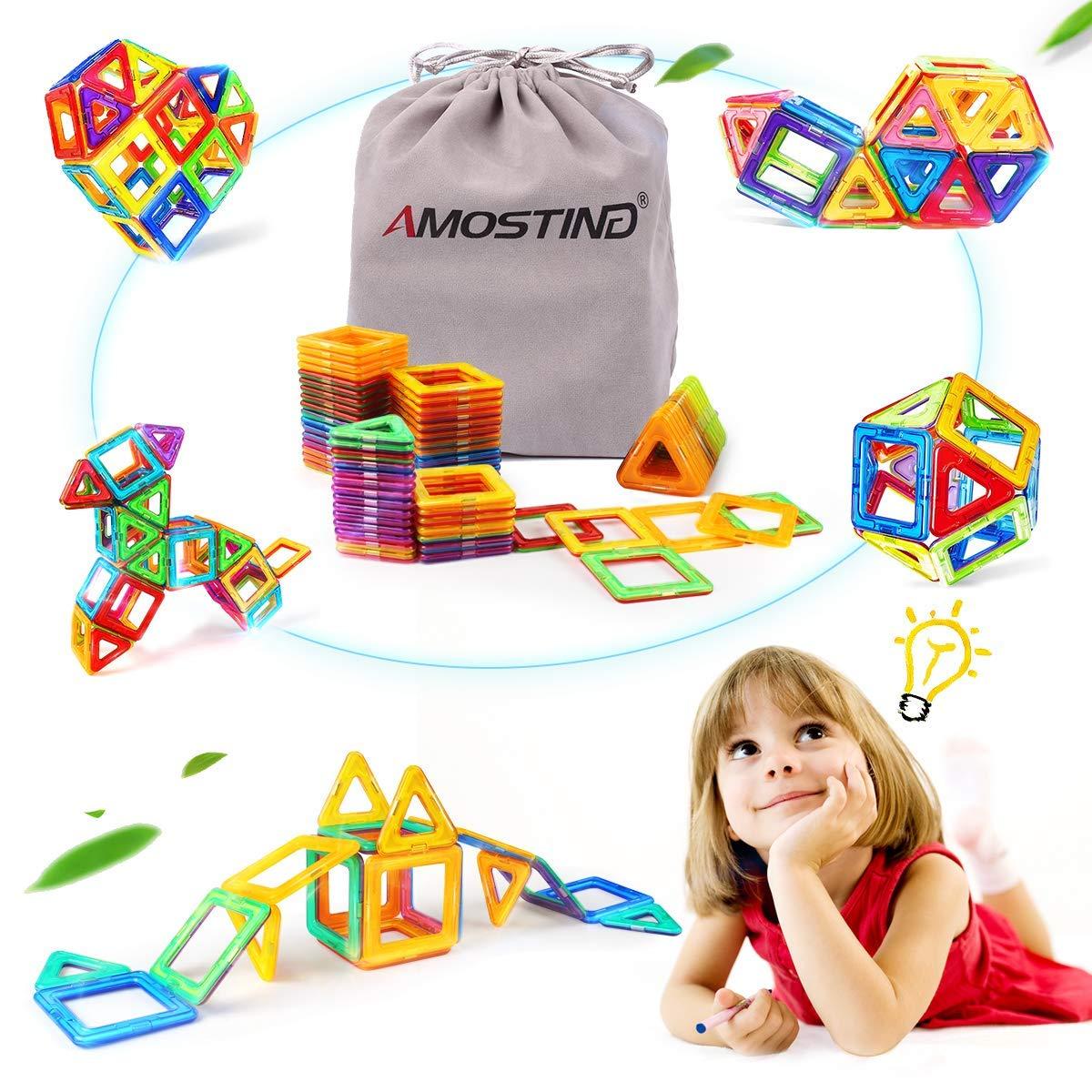 AMOSTING磁気おもちゃBuildingタイルブロックスタックセット – 64個   B07S7GTYD9