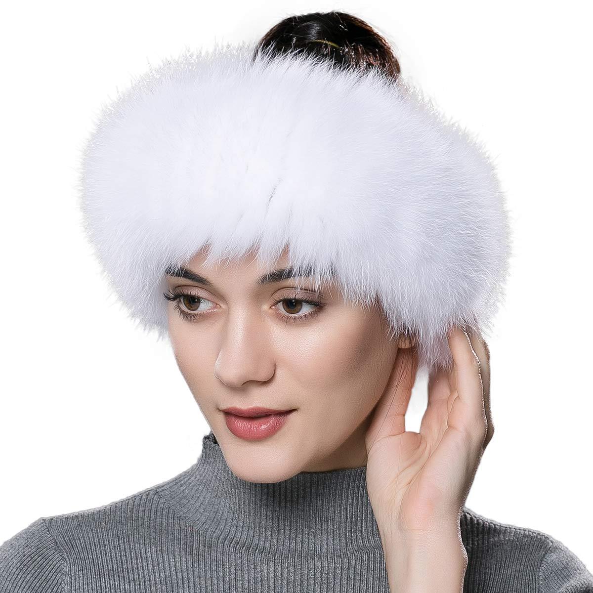ENJOYFUR Women Headband Fox Fur Headband Winter Earwarmer Earmuff (White)