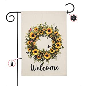 Summer Sunflower Wreath Garden Flag, Vertical Double-Sided Farmhouse Decor, Yellow Floral with Butterfly Garland Banner, Outdoor 12.5 X 18 Inches Welcome Home Decor with Stopper and Anti-Wind Clip Set