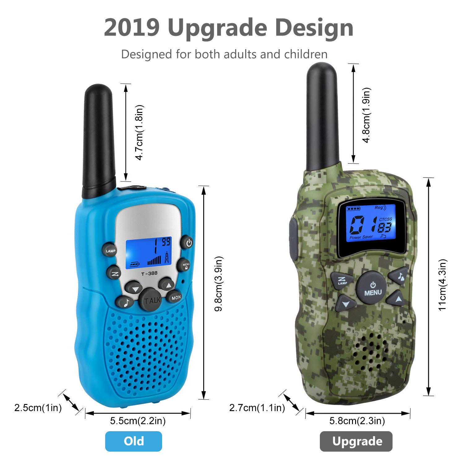 Wishouse 3 Walkie Talkies for Kids Rechargeable with Charger Battery,Family Two Way Radio Talkabout Walky Talky for Adults Long Range, Outdoor Fun Toy Birthday Gift for Girls Boys Teen Toddlers - Camo by Wishouse (Image #3)