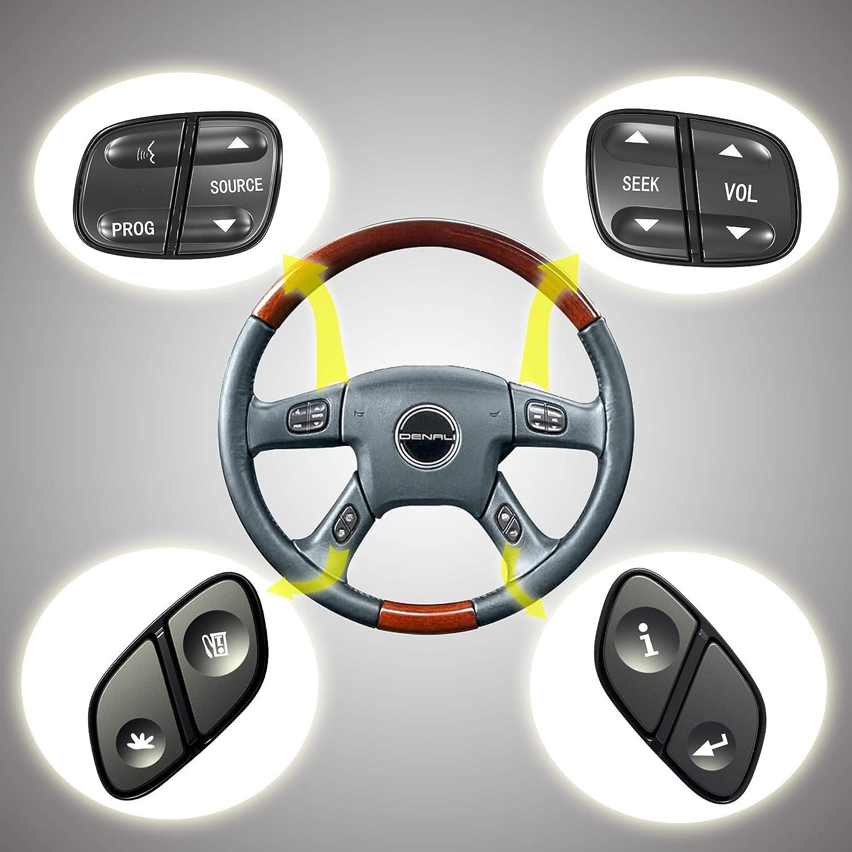 A-Premium 4 Pcs Steering Wheel Radio Volume Control Switch Buttons Compatible with Chevrolet Silverado Tahoe Trailblazer GMC Sierra Yukon Hummer H2 2003-2007