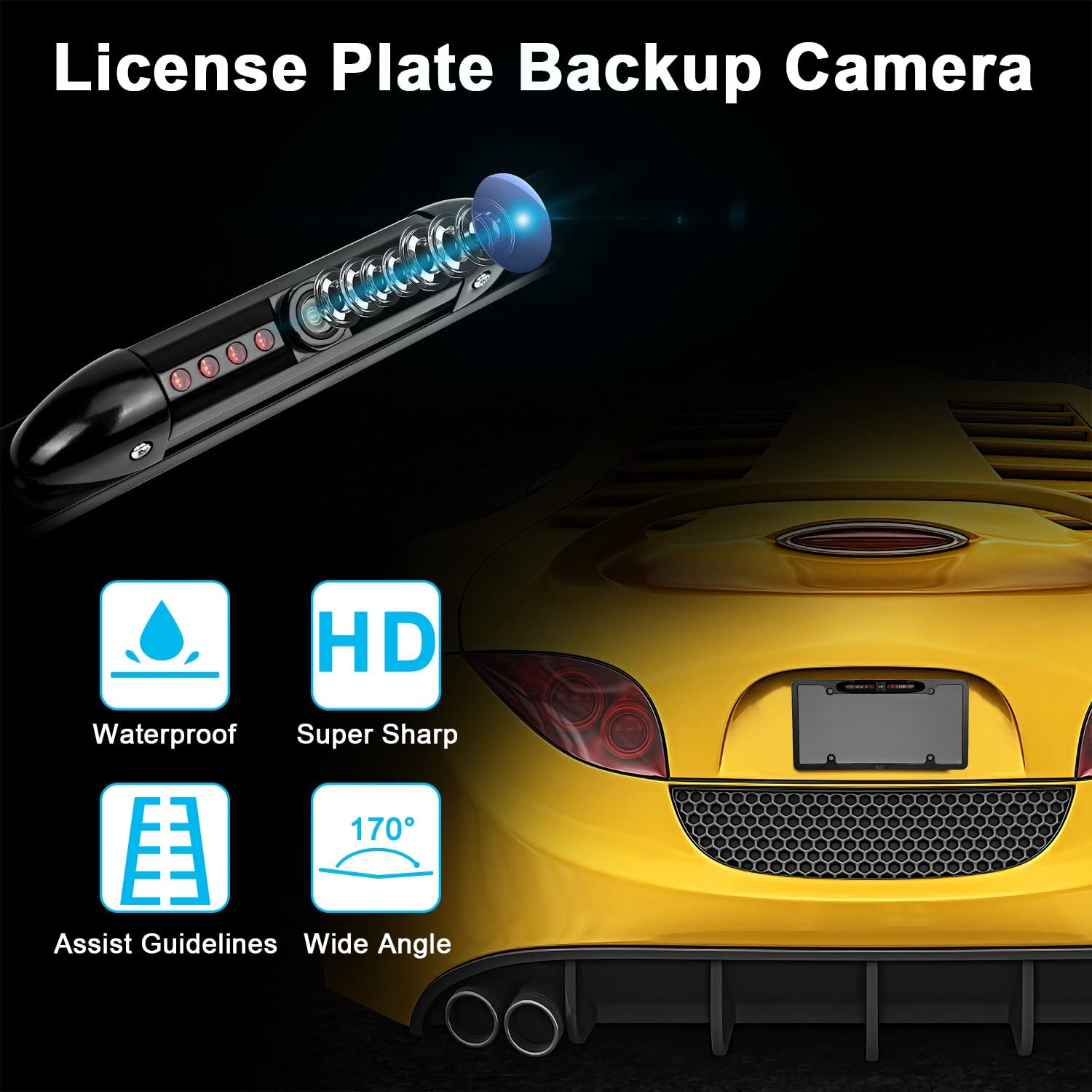 ATOTO AC-4486 Waterproof High Definition Hidden//Concealed License Plate Car Rear View Camera