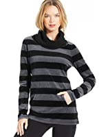 Calvin Klein Womens Long-Sleeve Striped Velour Cowl Neck Top