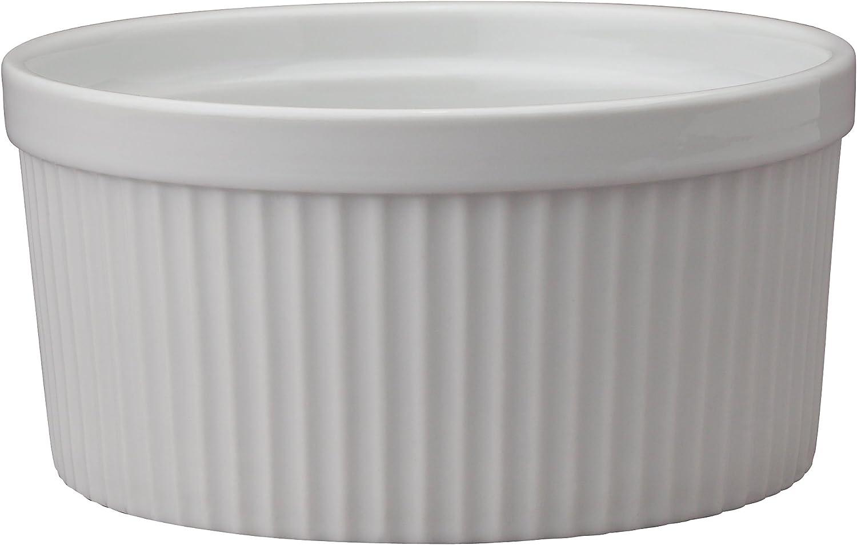 HIC Harold Import Co. Kitchen Souffle, Fine White Porcelain, 8-Ounce,  8-Quart