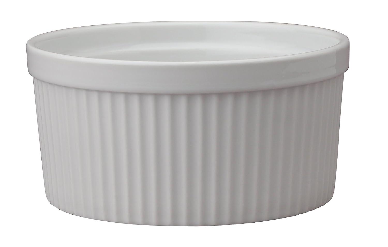 HIC Souffle, Fine White Porcelain, 6-Inch, 32-Ounce, 1-Quart Capacity