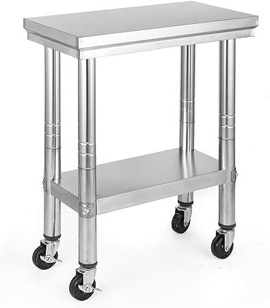 Olibelle 61x30cm Table De Travail Cuisine A Roulettes En Acier